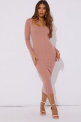 IN THE STYLE RAFFERTY BLUSH BANDAGE SQUARE NECK MIDAXI DRESS ~ light pink ribbed bodycon