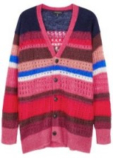 RAG & BONE Striped mohair and silk-blend cardigan ~ tonal-pink cardi