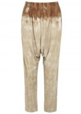 RAQUEL ALLEGRA Tie-dye jersey trousers in taupe and rust