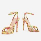EGO Ravi Knotted Barely There Heel In Yellow Flower Print – STRAPPY HIGH HEELS