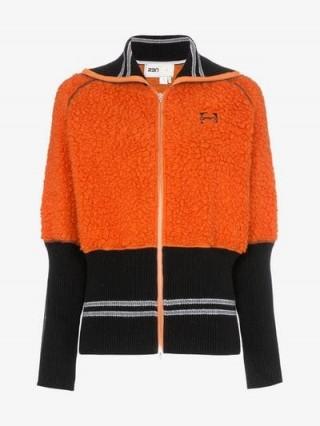 RBN X Bjorn Borg Two-Tone Fleece Insert Zip-Up Wool Bomber Jacket in orange and black