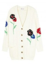 RED VALENTINO Cream embroidered cable-knit cardigan ~ floral cardigans