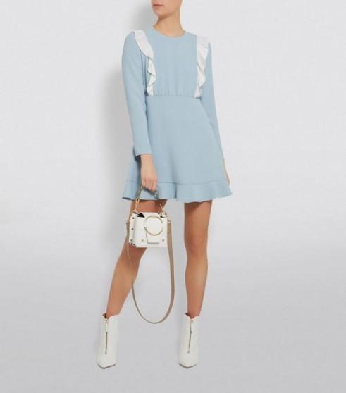Rixo Eleanor Halterneck Midi Dress in Blue ~ ruffled fit and flare
