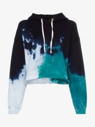 de algodón sudadera con capucha capucha Tie multicolor Dye Redone corta con CqxYwI0EnU