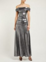 MARIA LUCIA HOHAN Reem metallic jersey off-the-shoulder gown ~ silver bardot event gowns