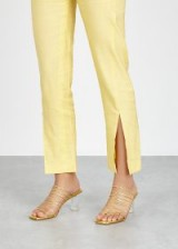 REJINA PYO Zoe 65 metallic leather sandals in gold ~ strappy mules with clear heels