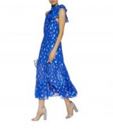 Rixo Eleanor Halterneck Midi Dress in Blue ~ metallic polka dots