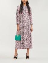 RIXO Emma flared tiger-print silk dress in pink – wild animal print fashion