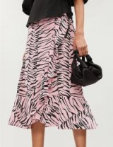 RIXO Gracie ruffle-trimmed tiger-print silk skirt in pink and black