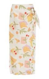 Rejina Pyo Robin Printed Cotton-Blend Midi Skirt | fruit print wrap skirts