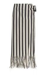 Rejina Pyo Robin Striped Fringed Denim Skirt | sarong-style wrap skirts