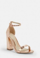 MISSGUIDED rose gold flared block barely there heels ~ metallic evening shoes