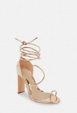 MISSGUIDED rose gold strappy toe post heeled sandals ~ glam party heels