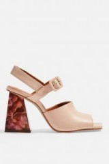 Topshop ROSE Marble Heeled Sandals in pink | chunky retro heels