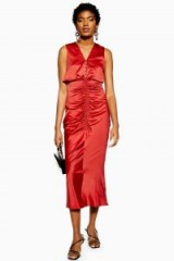 Topshop Ruched Button Midi Dress | vintage style evening fashion
