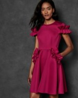 Ted Baker LUUCIEE Ruffle detail skater dress in deep-pink