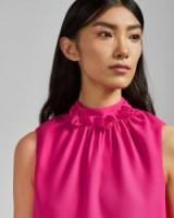 Ted Baker AUDRYE Ruffle neck sleeveless top in mid pink
