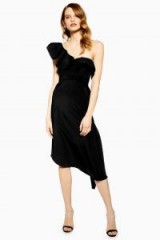 Topshop Ruffle One Shoulder Midi Dress in black | party glamour