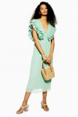 Topshop Ruffle Pleated Midi Dress in Green | deep V-neckline dresses | spring fashion
