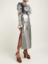HARRIS REED Ruffled metallic-silver midi dress