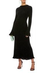 Brandon Maxwell Ruffled Rib-Knit Midi Dress in Black | luxe metallic-thread knitwear