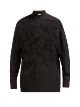 VALENTINO Ruffle-trimmed poplin blouse in black ~ tiered ruffles