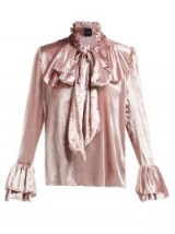 HARRIS REED Ruffle-trimmed pink velvet blouse ~ romantic style clothing