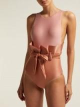 ADRIANA DEGREAS Ruffle-waist swimsuit ~ two-tone pink swimsuits