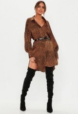 MISSGUIDED rust drop back leopard shirt dress ~ high-low hemline