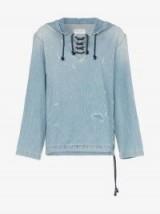 Saint Laurent Distressed Detail Lace-Up Hooded Blue Denim Jumper ~ ripped designer hoodie