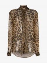 Saint Laurent Leopard Sheer Silk Tie Neck Blouse ~ glamorous blouses