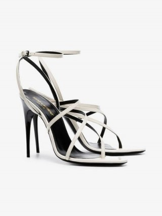 Saint Laurent White Paris 105 Strappy Patent Leather Sandals ~ stiletto heels