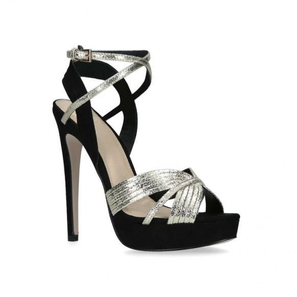 KG KURT GEIGER SAMMY Metallic Stiletto Heel Platform Sandals – super strappy heels – glamorous impact shoes