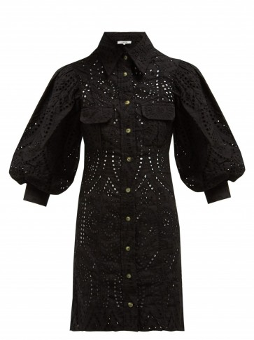 GANNI Sandrose black cotton broderie anglaise mini dress ~ balloon sleeve shirt dress
