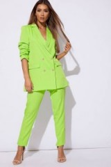 SARAH ASHCROFT LIME DOUBLE BREASTED BLAZER ~ neon green jacket