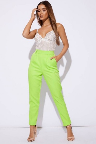 SARAH ASHCROFT LIME HIGH WAISTED TROUSERS ~ neon green suit trousers