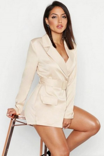 boohoo Satin Belted Blazer Playsuit in Nude ~ going out ~ evening glamour
