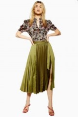 Topshop Satin Pleat Midi Skirt in Khaki | floaty green pleated skirts