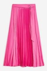 TOPSHOP Pink Satin Pleat Midi Skirt