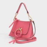 see by chloé JOAN MINI HOBO BAG IN ARDENT PINK GRAINED LEATHER – small & cute