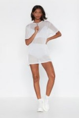 NASTY GAL See Clearly Now Mesh Dress in Ivory – sporty sheer outfit