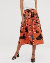 Selected Femme button down midi skirt in abstract print in mango