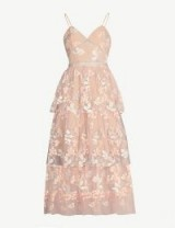 SELF-PORTRAIT Floral embellished tulle midi dress in pink – luxe cami strap party dresses