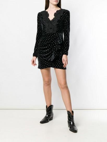 SELF-PORTRAIT glitter stone embellished dress in black / ruffled dresses
