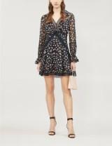 SELF-PORTRAIT Twist-Front ditsy-print chiffon mini dress in black