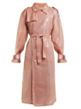 ASHISH Pink sequinned double-breasted trench coat ~ luxe outerwear