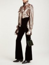 HARRIS REED Sequinned tie-neck blouse ~ gold ruffled blouses