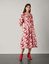 JOSEPH Shan Cotton Print Dress in Crimson / red flower print midi dresses