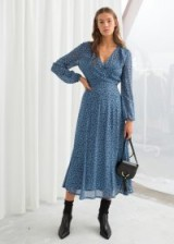 & other stories Sheer Printed Midi Dress   modern prairie fashion