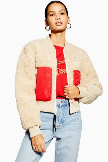 Tommy Jeans Sherpa Bomber Jacket in Oatmeal
